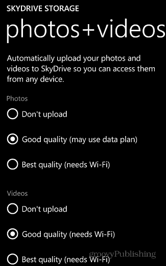 Photo and Video Settings