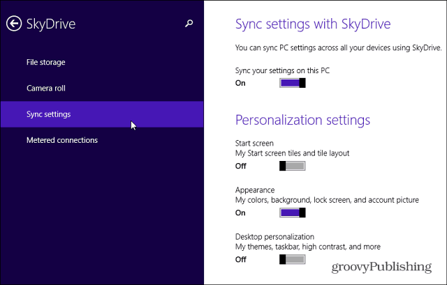 SkyDrive Sync Settings