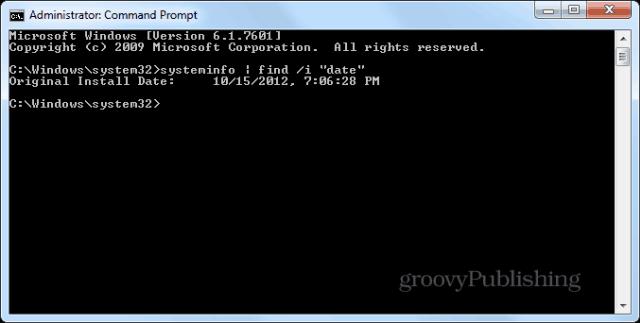 Windows installation date cmd prompt systeminfo enter