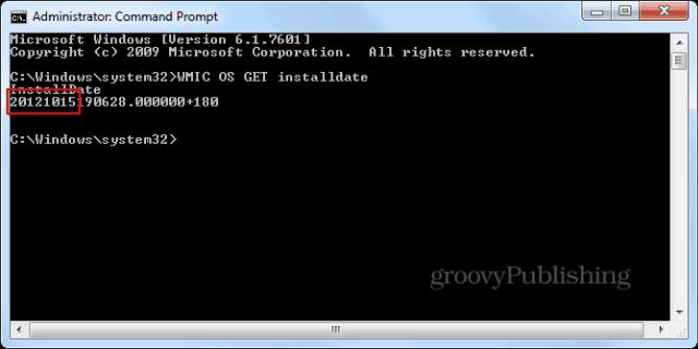 Windows installation date cmd promptwmic enter