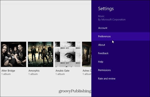 Xbox Music PReferences