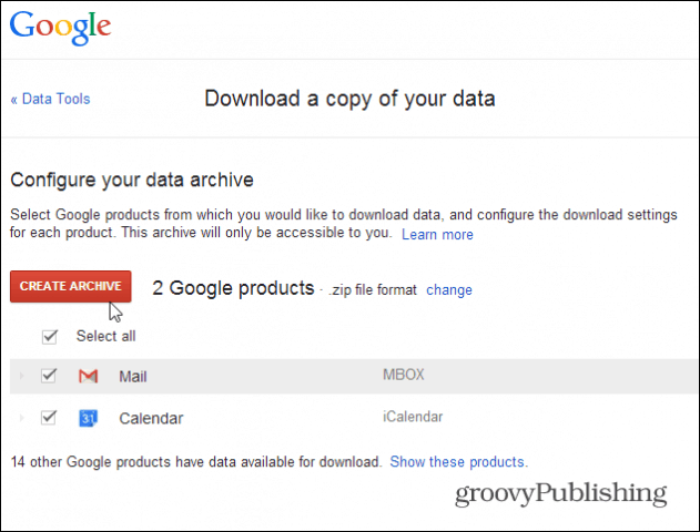 archive gmail data