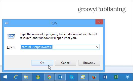 control userpasswords2 Windows 8.1
