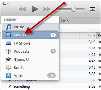in itunes, select the movies library to update your movies category