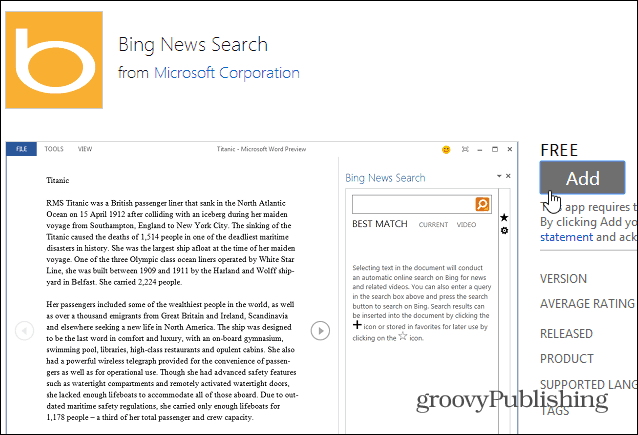 Add Bing App