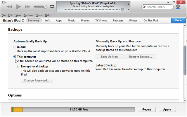 Backup to iTunes
