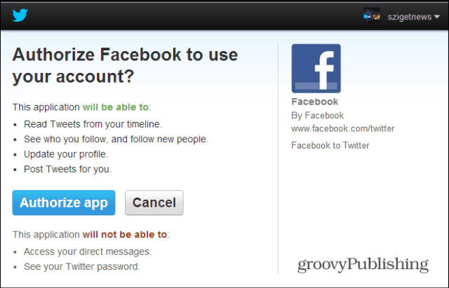 Facebook to Twitter authorize
