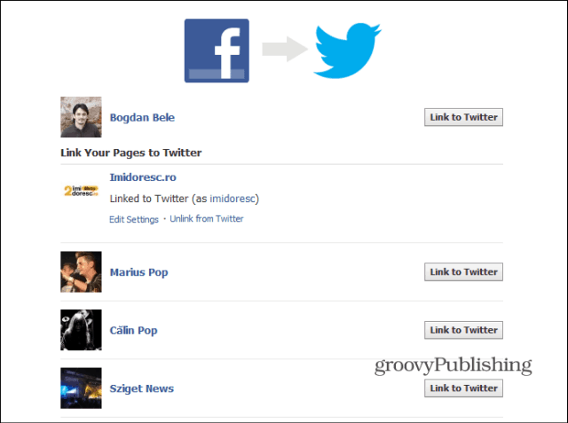 Facebook to Twitter list