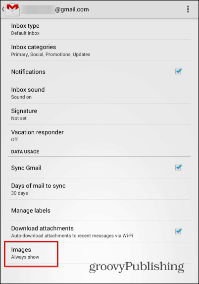 Gmail Android external images images