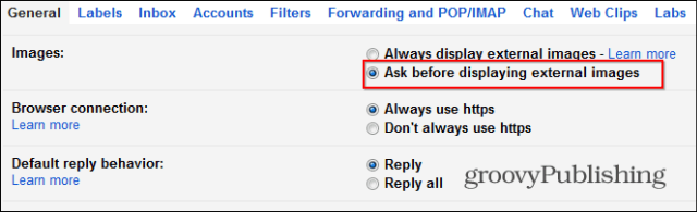 Gmail disable automatic image loading settings
