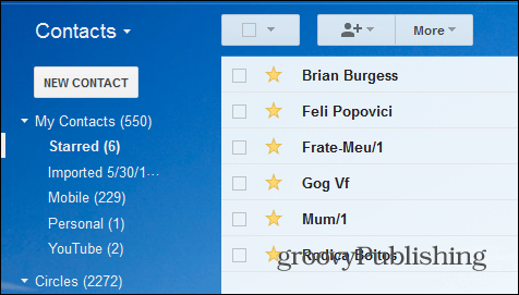 Gmail star contacts starred