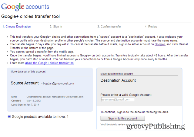 Merge Google accounts transfer tool