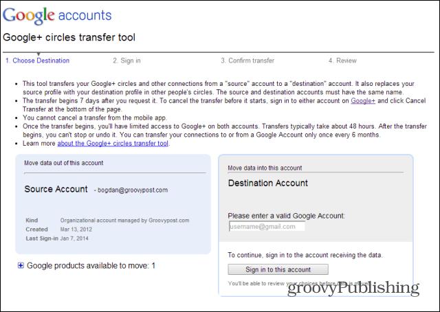 Merge Google  accounts transfer tool