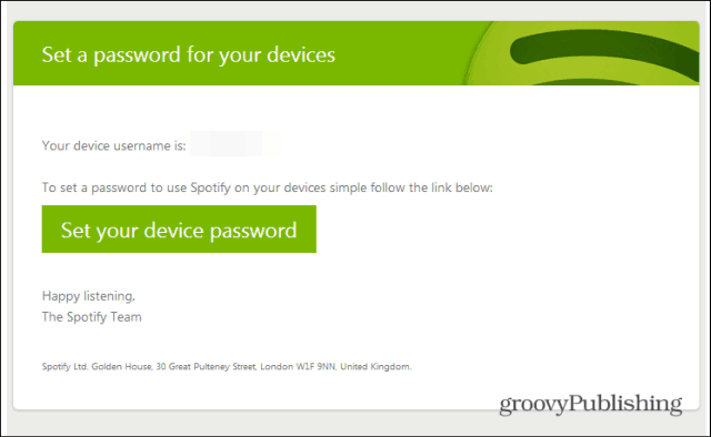 Spotify profile set a password email