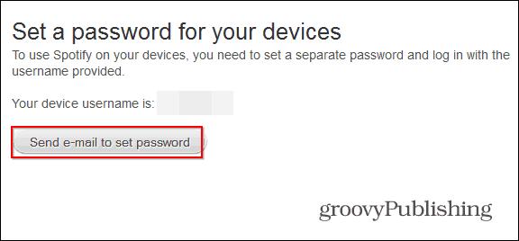 Spotify profile set a password send