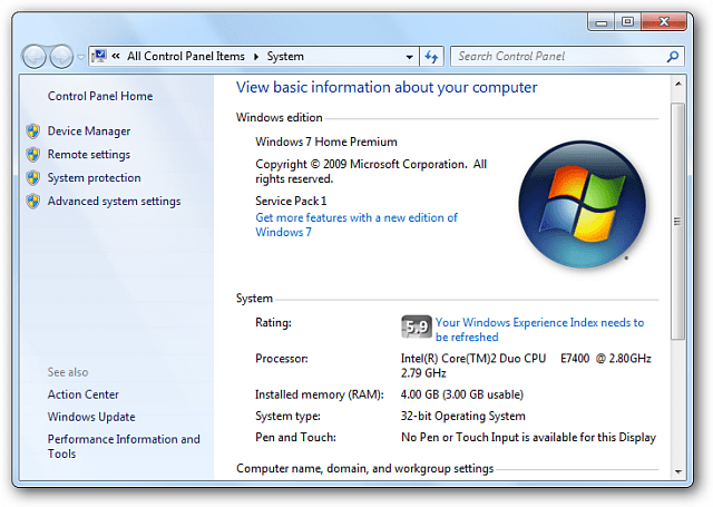 WEI Tool Windows 7