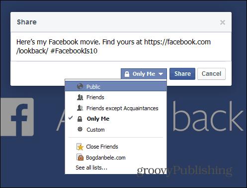 Facebook Look Back edit share me