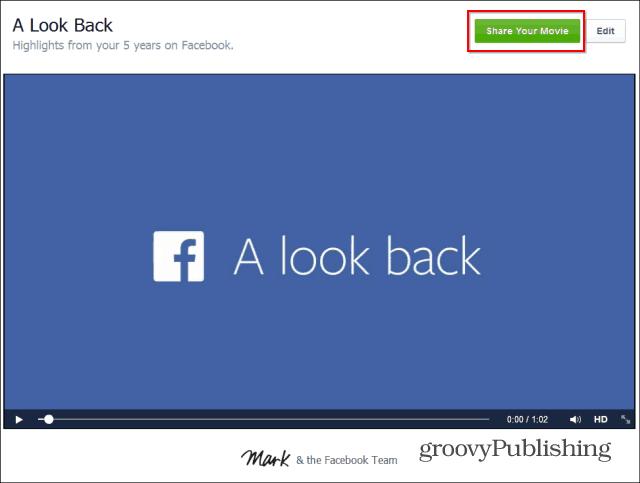 Facebook Look Back share