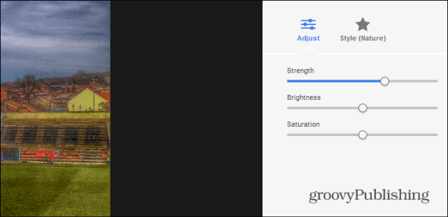 Google HDR presets adjust