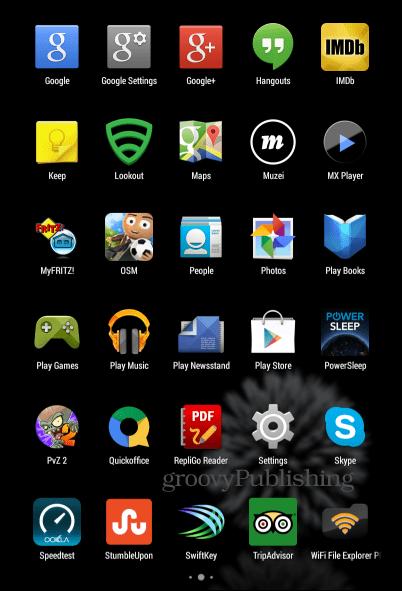 Google Now Launcher main menu