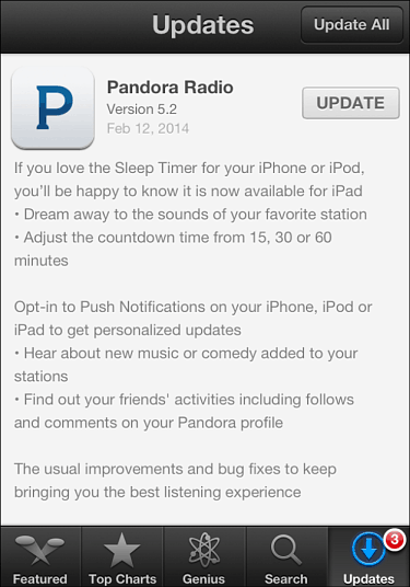 Pandora Adds Sleep Timer Feature for iPad