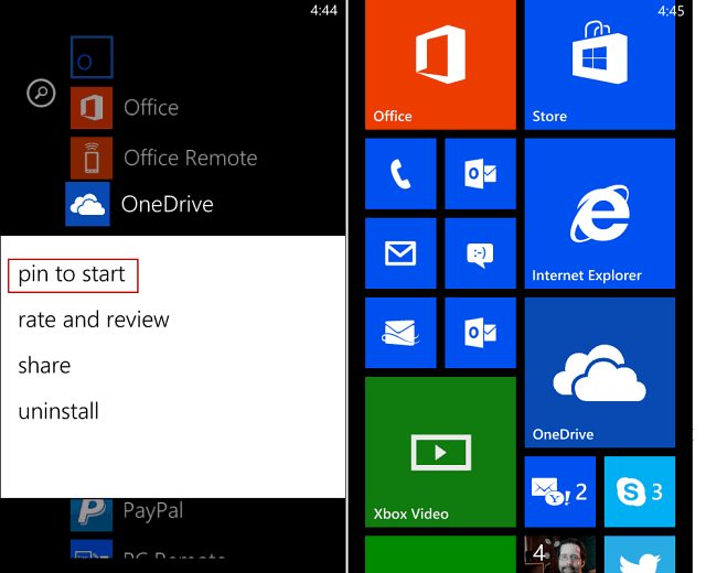 Pin OneDrive to Start