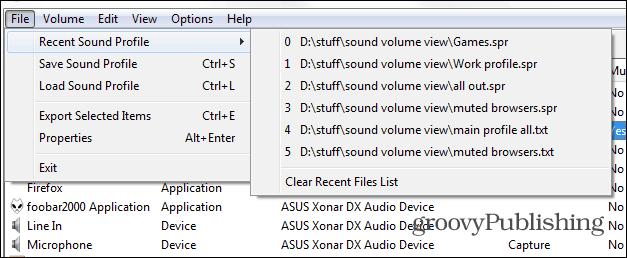 SoundVolumeView main load profile