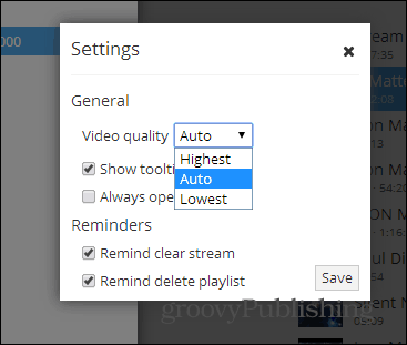 Streamus settings