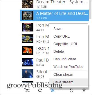 Streamus track options