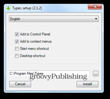 Types install