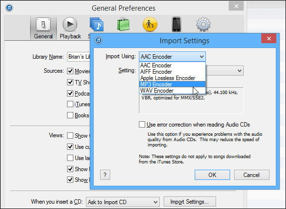 Change Import Settings