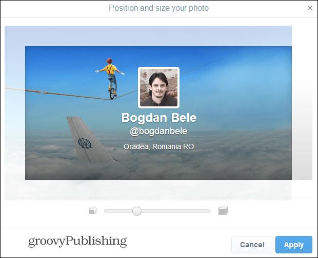 twitter settings change header position