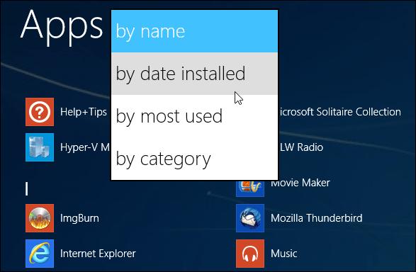 App sorting