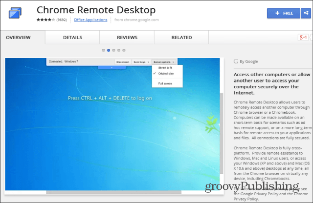 Chrome Remote Desktop web Store