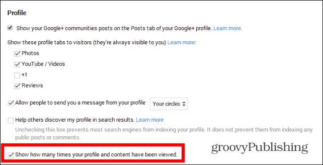 Google  profile views remove setting
