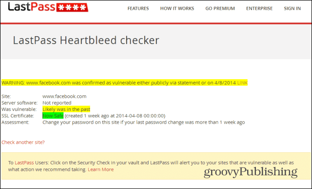 Last Pass Heartbleed checker