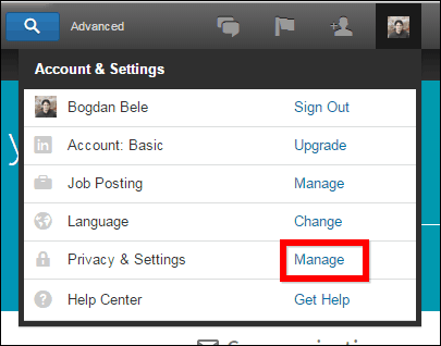 Linkedin privacy manage