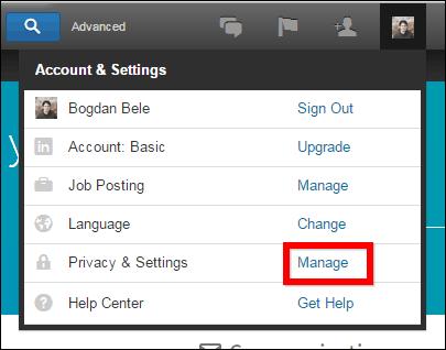 Linkedin privacy manage