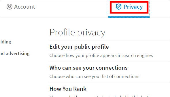 Linkedin privacy tab