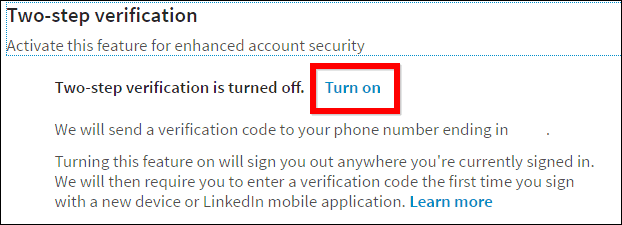 Linkedin privacy turn on two-step verification turn on