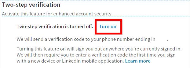 Linkedin privacy turn on two-step verification turn on