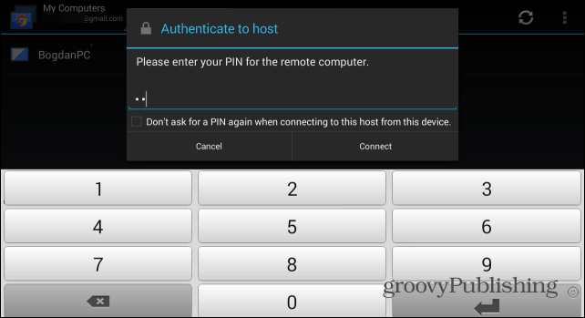 Remote Desktop Android pin