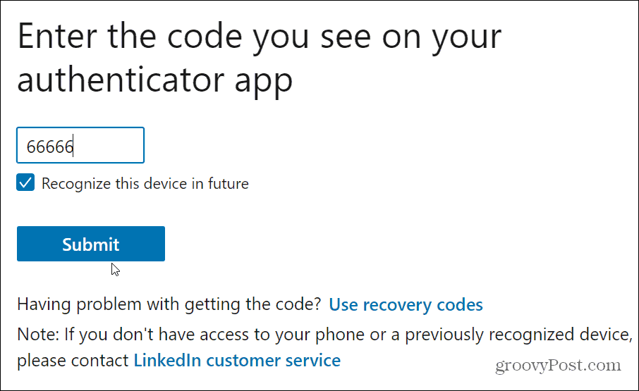 authenticator codes LinkedIn
