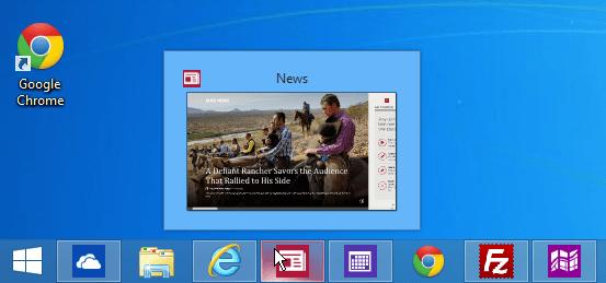 modern apps taskbar