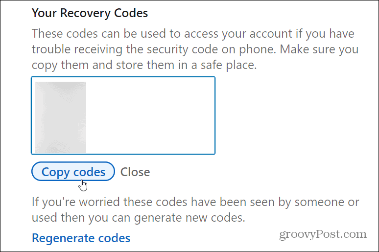 recovery codes