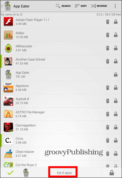 App Eater list view
