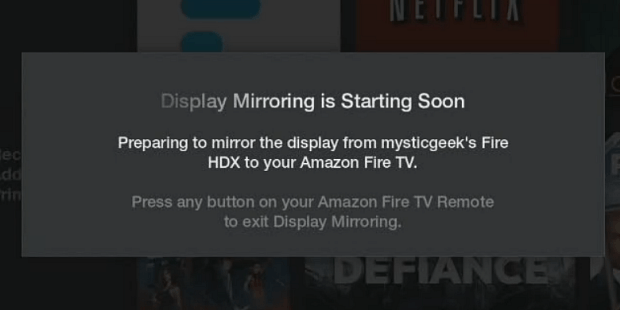 Display Mirroring Starting