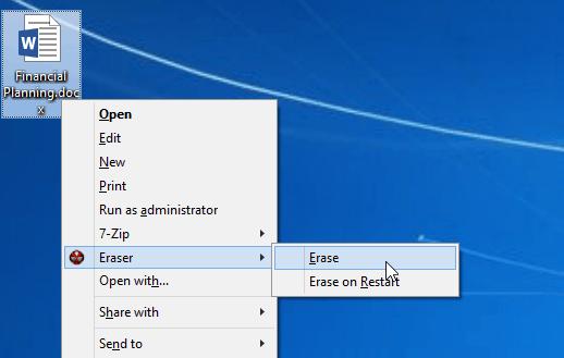 Eraser Shreds Files