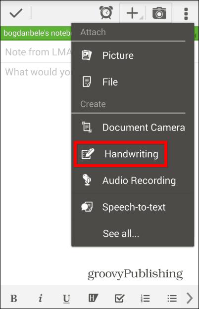 Evernote handwritten add