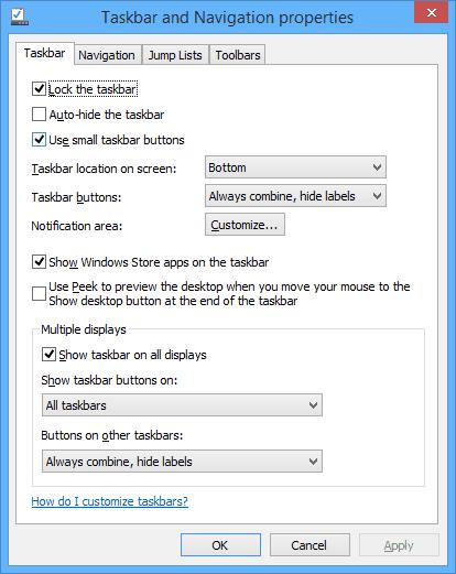Taskbar Options